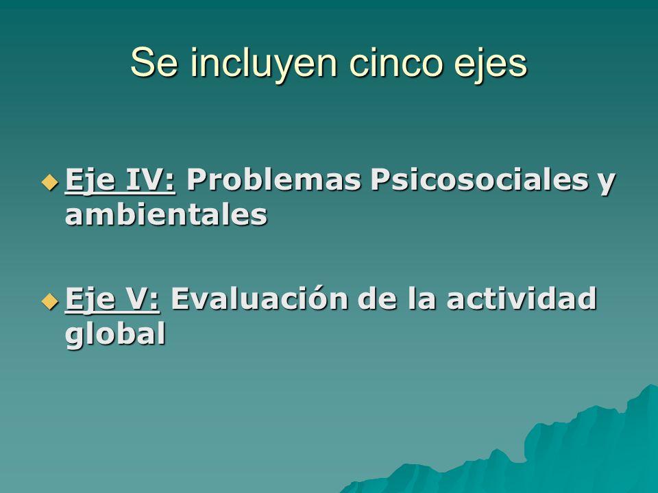Se incluyen cinco ejes Eje IV: Problemas Psicosociales y ambientales Eje IV: Problemas Psicosociales y ambientales Eje V: Evaluación de la actividad g
