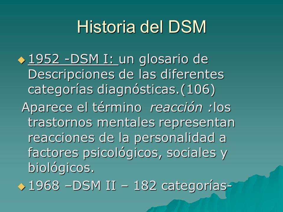 Historia del DSM 1952 -DSM I: un glosario de Descripciones de las diferentes categorías diagnósticas.(106) 1952 -DSM I: un glosario de Descripciones d
