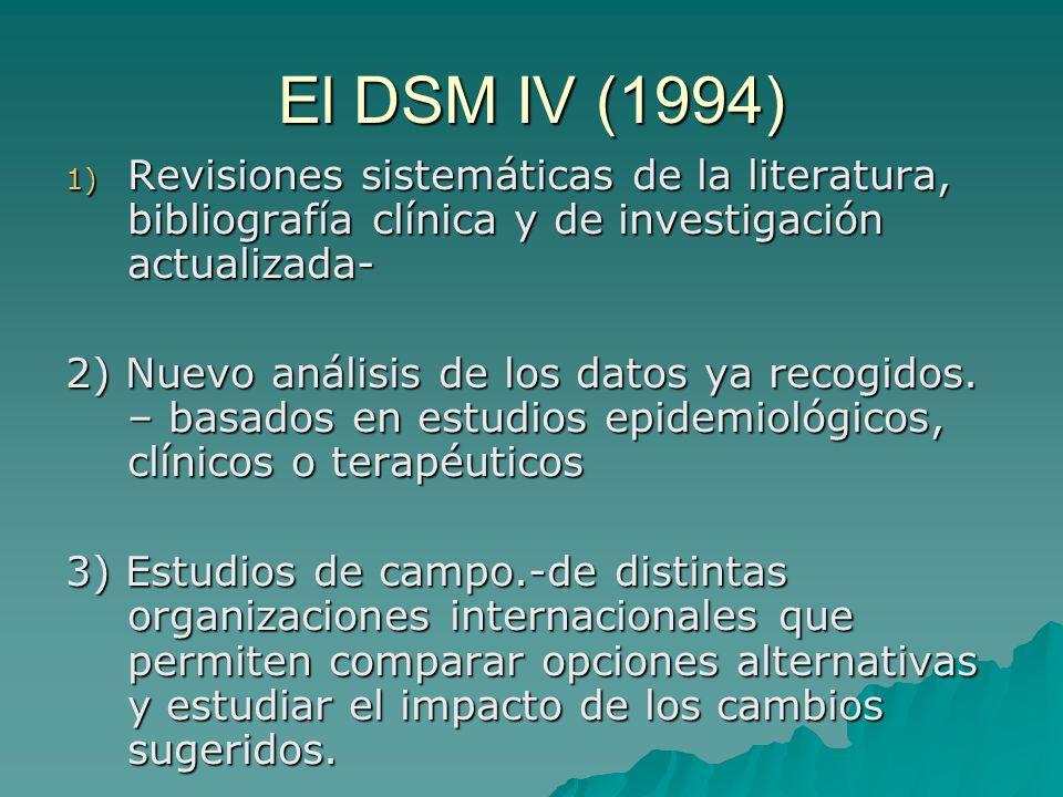 El DSM IV (1994) 1) Revisiones sistemáticas de la literatura, bibliografía clínica y de investigación actualizada- 2) Nuevo análisis de los datos ya r