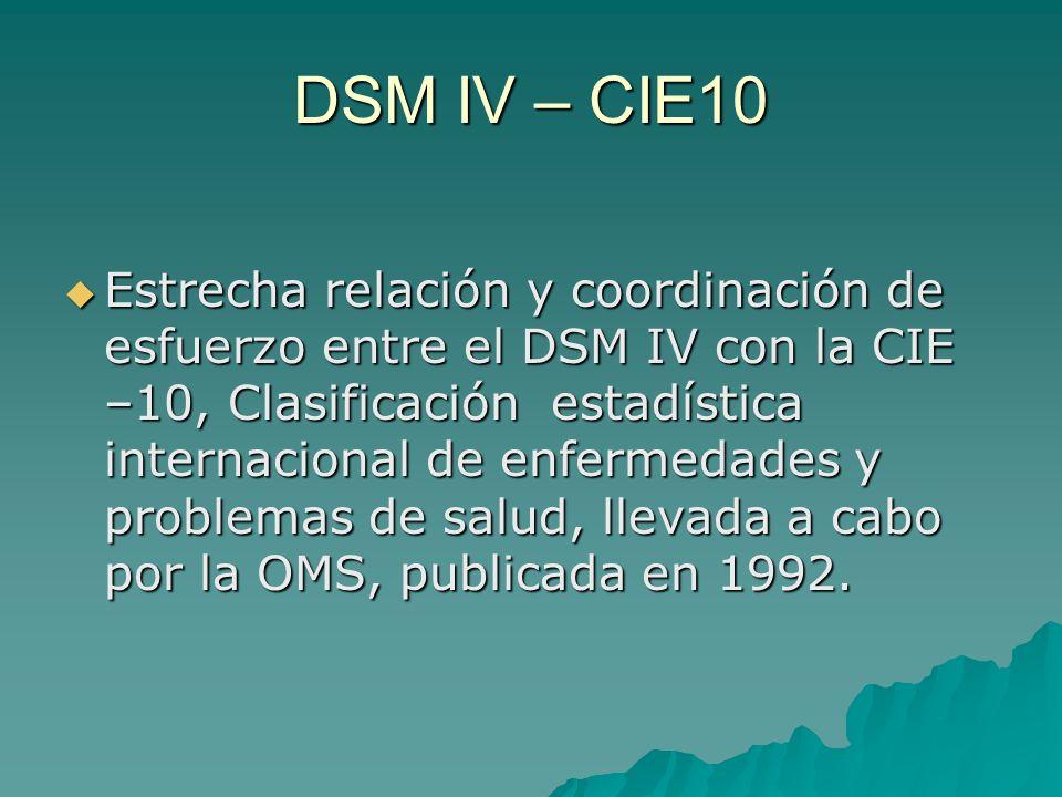 DSM IV – CIE10 Estrecha relación y coordinación de esfuerzo entre el DSM IV con la CIE –10, Clasificación estadística internacional de enfermedades y