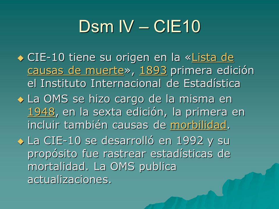 Dsm IV – CIE10 CIE-10 tiene su origen en la «Lista de causas de muerte», 1893 primera edición el Instituto Internacional de Estadística CIE-10 tiene s