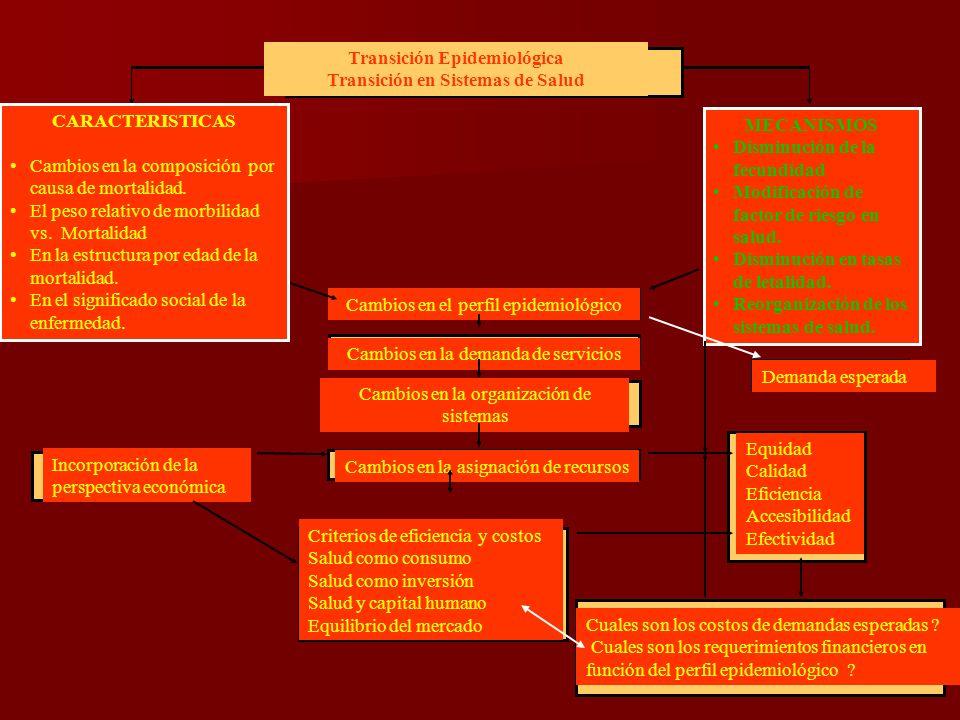 Cambios en la organización de sistemas Transición Epidemiológica Transición en Sistemas de Salud MECANISMOS Disminución de la fecundidad Modificación de factor de riesgo en salud.