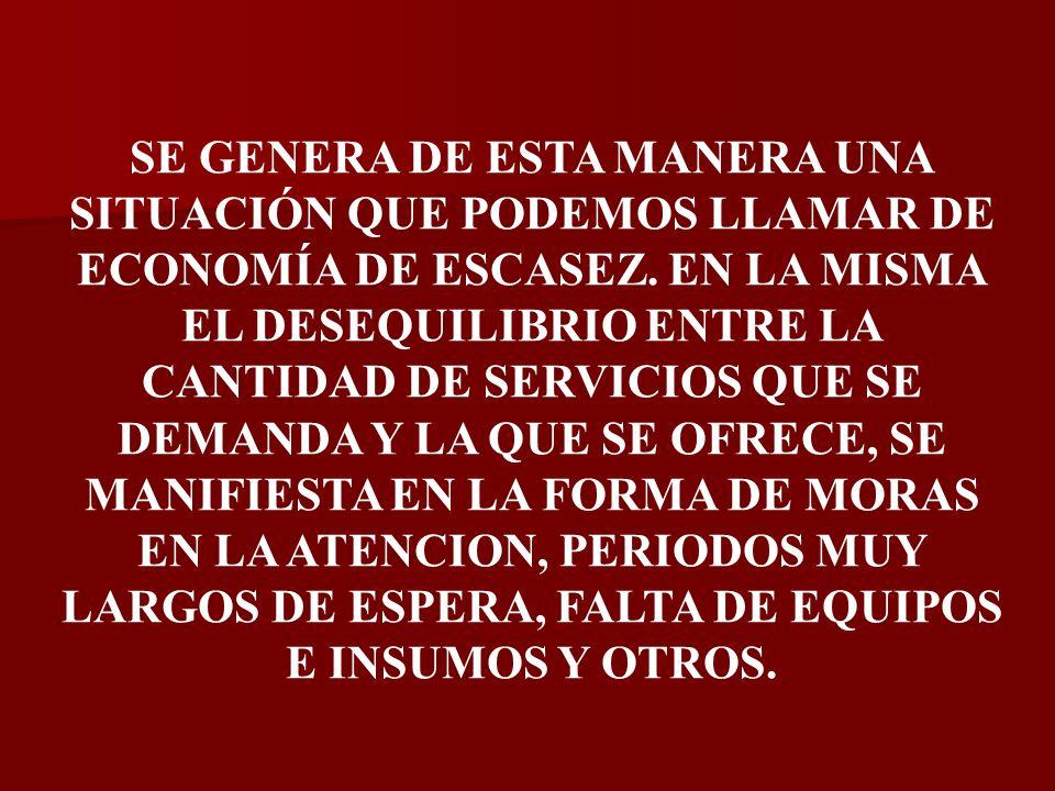 SE GENERA DE ESTA MANERA UNA SITUACIÓN QUE PODEMOS LLAMAR DE ECONOMÍA DE ESCASEZ.