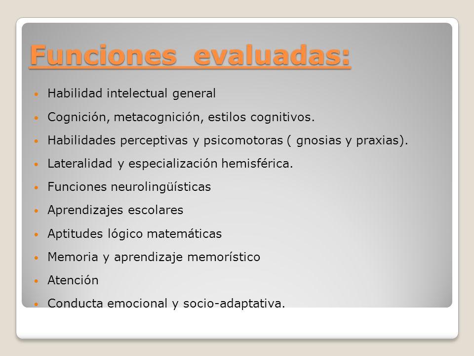 Funciones evaluadas: Habilidad intelectual general Cognición, metacognición, estilos cognitivos. Habilidades perceptivas y psicomotoras ( gnosias y pr