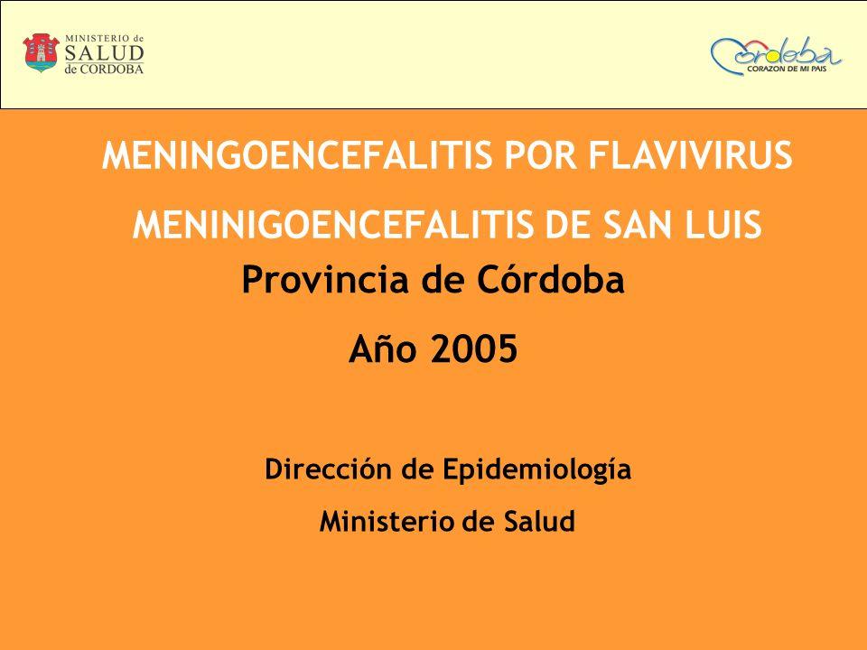 MENINGOENCEFALITIS POR FLAVIVIRUS MENINIGOENCEFALITIS DE SAN LUIS Provincia de Córdoba Año 2005 Dirección de Epidemiología Ministerio de Salud