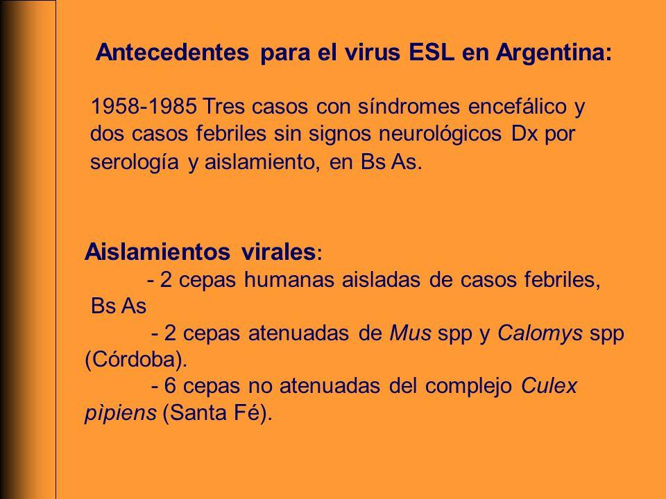 Antecedentes para el virus ESL en Argentina: 1958-1985 Tres casos con síndromes encefálico y dos casos febriles sin signos neurológicos Dx por serolog