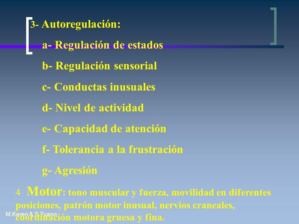 M.Keren & S.Tyano 3- Autoregulación: a- Regulación de estados b- Regulación sensorial c- Conductas inusuales d- Nivel de actividad e- Capacidad de ate