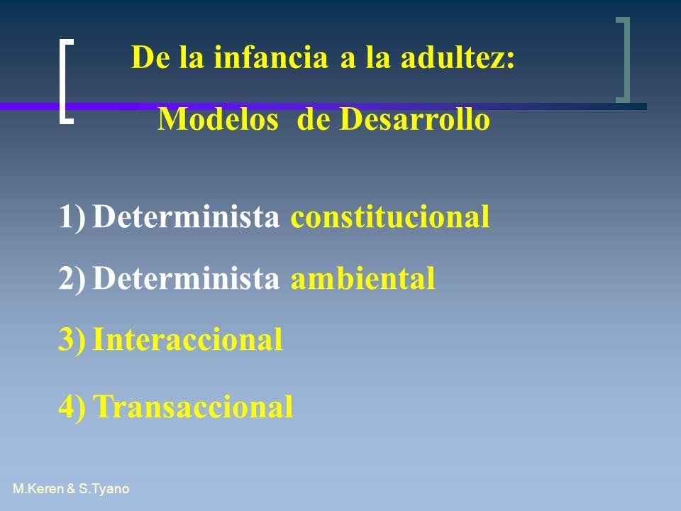 M.Keren & S.Tyano De la infancia a la adultez: Modelos de Desarrollo 1)Determinista constitucional 2)Determinista ambiental 3)Interaccional 4)Transacc