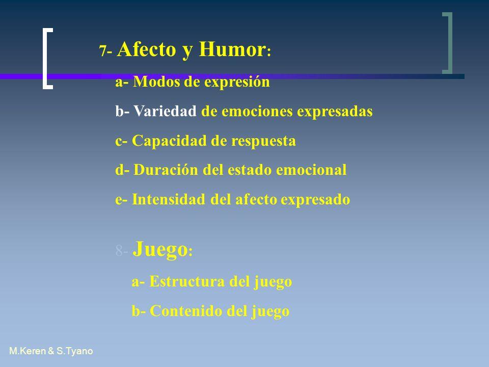 M.Keren & S.Tyano 7- Afecto y Humor : a- Modos de expresión b- Variedad de emociones expresadas c- Capacidad de respuesta d- Duración del estado emoci