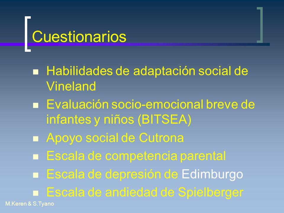 M.Keren & S.Tyano Cuestionarios Habilidades de adaptación social de Vineland Evaluación socio-emocional breve de infantes y niños (BITSEA) Apoyo socia