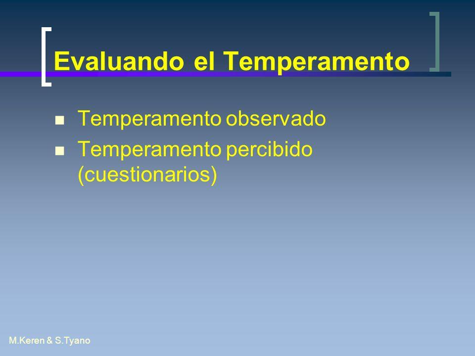 M.Keren & S.Tyano Evaluando el Temperamento Temperamento observado Temperamento percibido (cuestionarios)