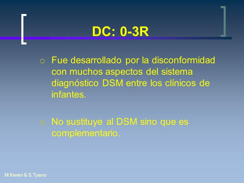 M.Keren & S.Tyano DC: 0-3R Fue desarrollado por la disconformidad con muchos aspectos del sistema diagnóstico DSM entre los clínicos de infantes. No s