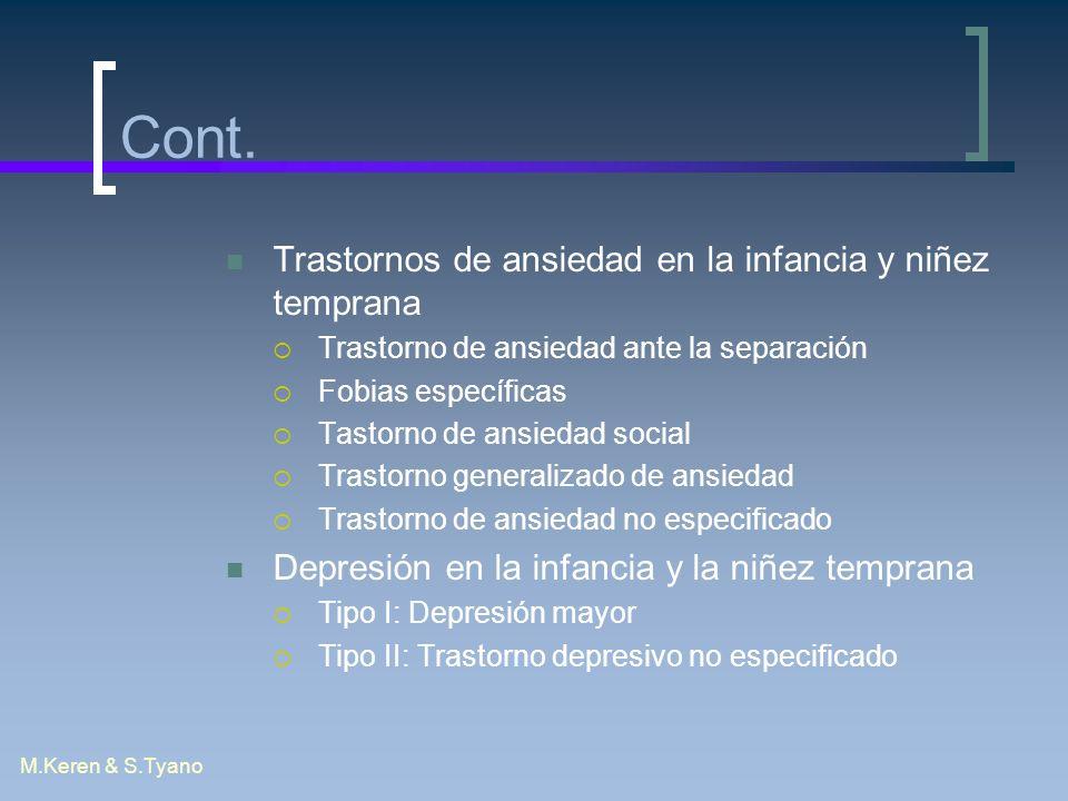 M.Keren & S.Tyano Cont. Trastornos de ansiedad en la infancia y niñez temprana Trastorno de ansiedad ante la separación Fobias específicas Tastorno de