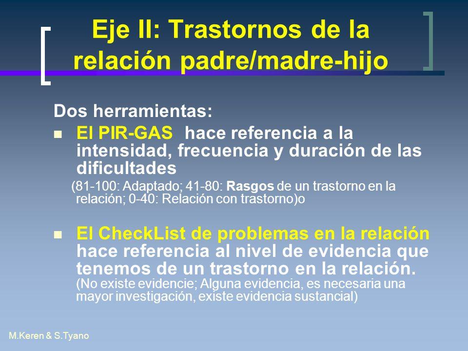 M.Keren & S.Tyano Eje II: Trastornos de la relación padre/madre-hijo Dos herramientas: El PIR-GAS hace referencia a la intensidad, frecuencia y duraci
