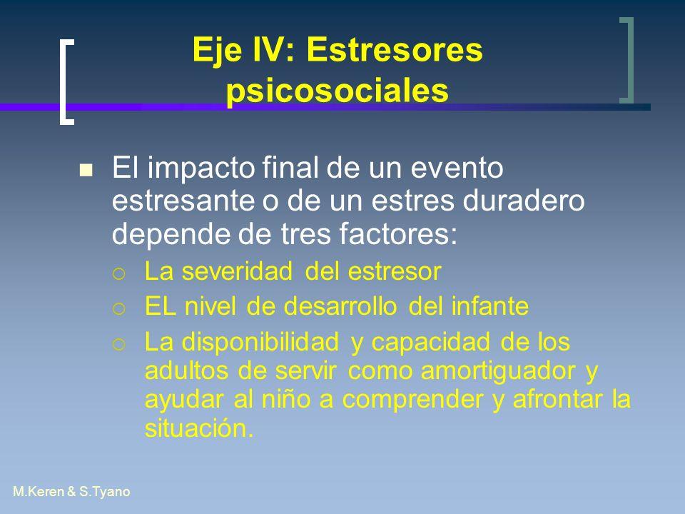M.Keren & S.Tyano Eje IV: Estresores psicosociales El impacto final de un evento estresante o de un estres duradero depende de tres factores: La sever