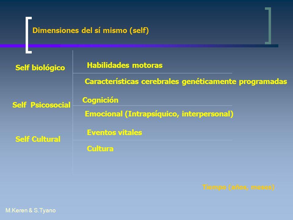 M.Keren & S.Tyano Tiempo (años, meses) Dimensiones del sí mismo (self) Self biológico Self Psicosocial Self Cultural Habilidades motoras Característic