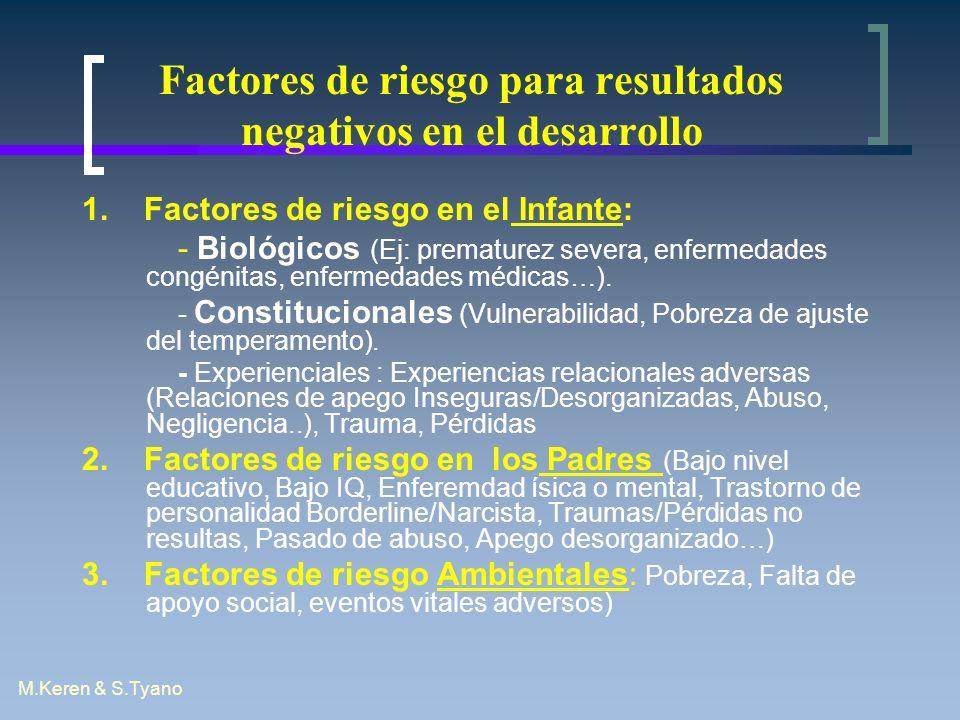 M.Keren & S.Tyano Factores de riesgo para resultados negativos en el desarrollo 1. Factores de riesgo en el Infante: - Biológicos (Ej: prematurez seve