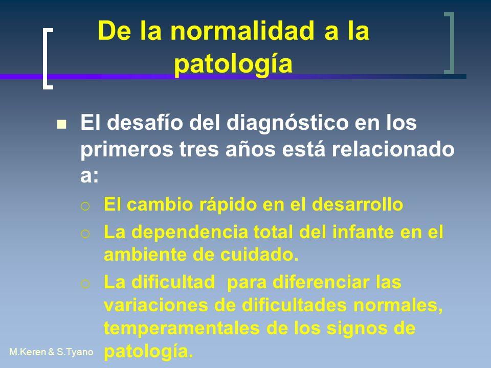 M.Keren & S.Tyano De la normalidad a la patología El desafío del diagnóstico en los primeros tres años está relacionado a: El cambio rápido en el desa