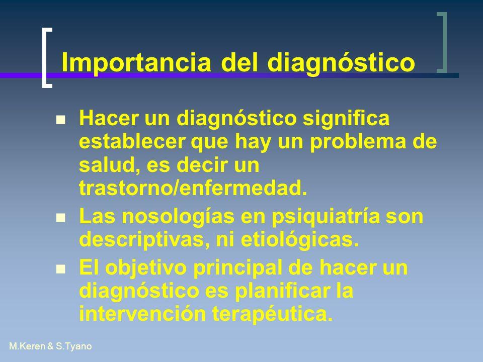 M.Keren & S.Tyano Importancia del diagnóstico Hacer un diagnóstico significa establecer que hay un problema de salud, es decir un trastorno/enfermedad