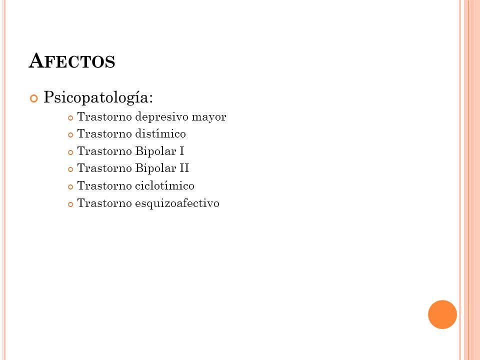 A FECTOS Psicopatología: Trastorno depresivo mayor Trastorno distímico Trastorno Bipolar I Trastorno Bipolar II Trastorno ciclotímico Trastorno esquiz