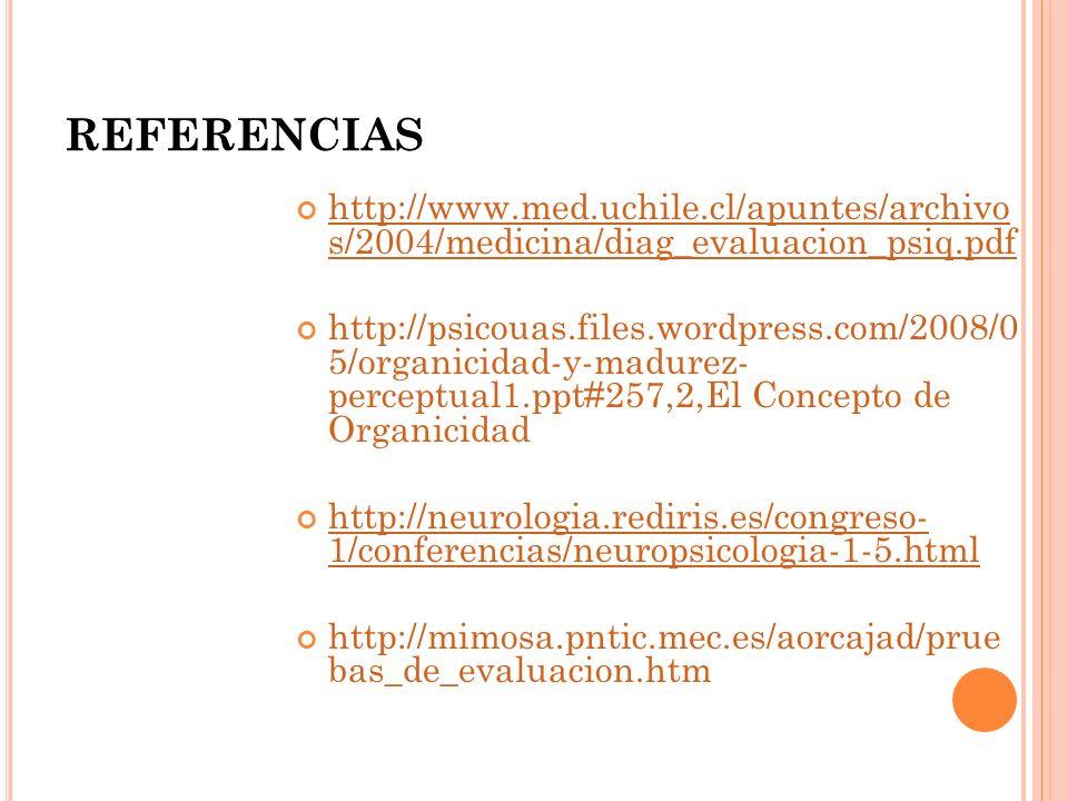 REFERENCIAS http://www.med.uchile.cl/apuntes/archivo s/2004/medicina/diag_evaluacion_psiq.pdf http://www.med.uchile.cl/apuntes/archivo s/2004/medicina