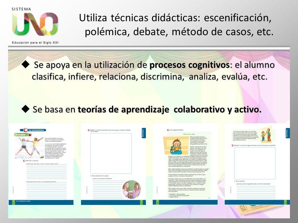 Utiliza técnicas didácticas: escenificación, polémica, debate, método de casos, etc. Se apoya en la utilización de procesos cognitivos: el alumno clas