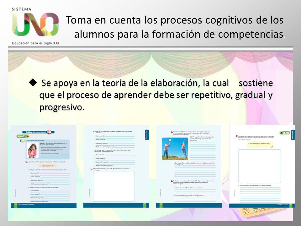 Toma en cuenta los procesos cognitivos de los. alumnos para la formación de competencias. Se apoya en la teoría de la elaboración, la cual sostiene qu