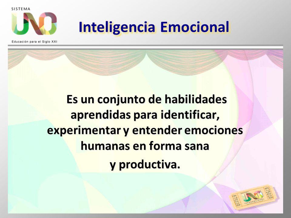Inteligencia Emocional Es un conjunto de habilidades aprendidas para identificar, experimentar y entender emociones humanas en forma sana Es un conjun