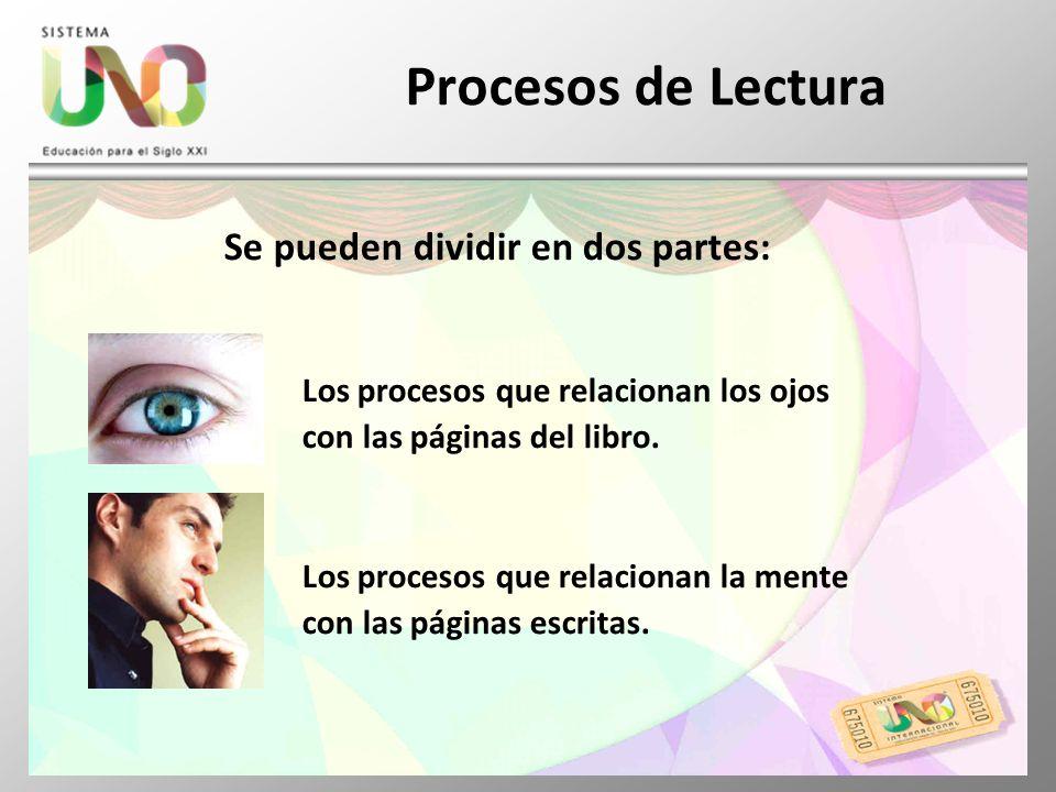 Procesos de Lectura Se pueden dividir en dos partes: Los procesos que relacionan los ojos con las páginas del libro. Los procesos que relacionan la me