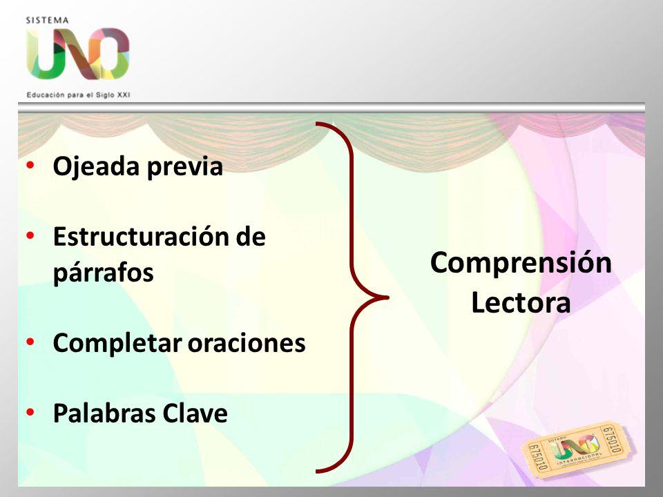 Ojeada previa Estructuración de párrafos Completar oraciones Palabras Clave Comprensión Lectora