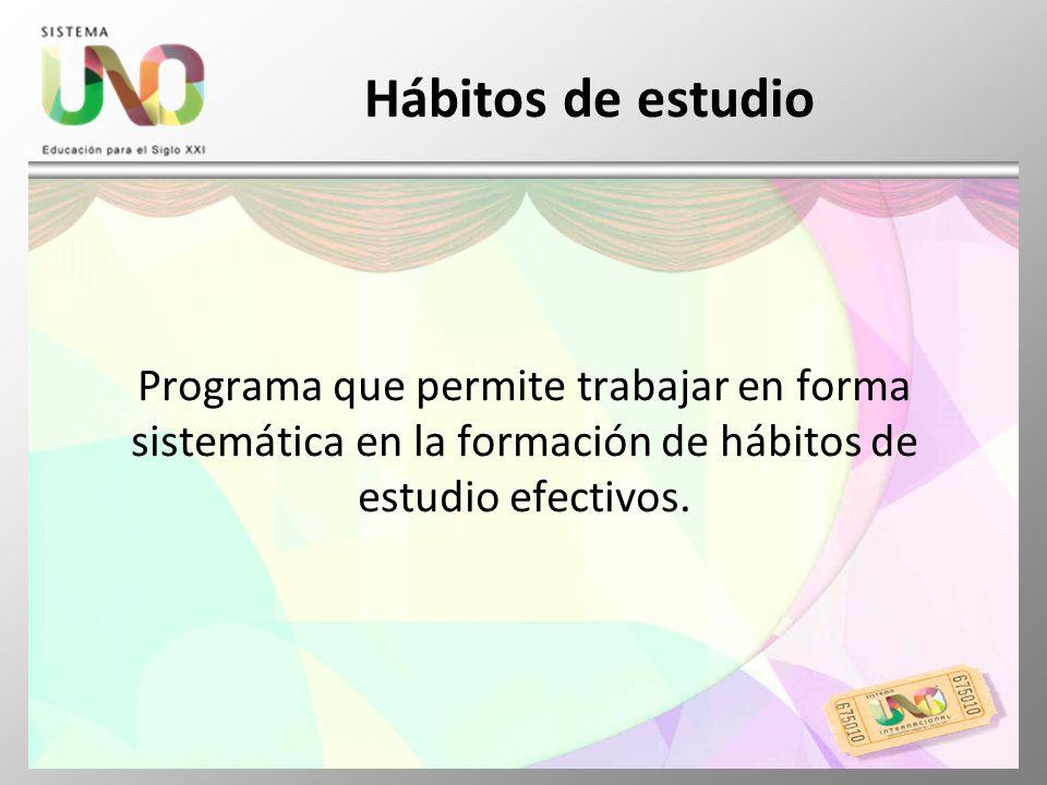 Hábitos de estudio Programa que permite trabajar en forma sistemática en la formación de hábitos de estudio efectivos.