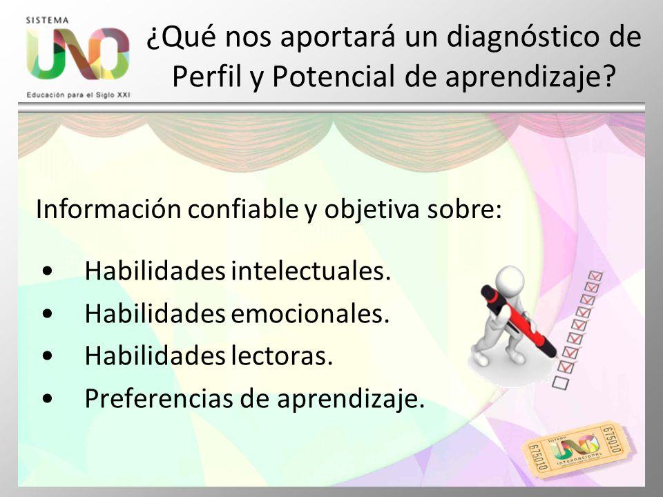 ¿Qué nos aportará un diagnóstico de Perfil y Potencial de aprendizaje? Habilidades intelectuales. Habilidades emocionales. Habilidades lectoras. Prefe
