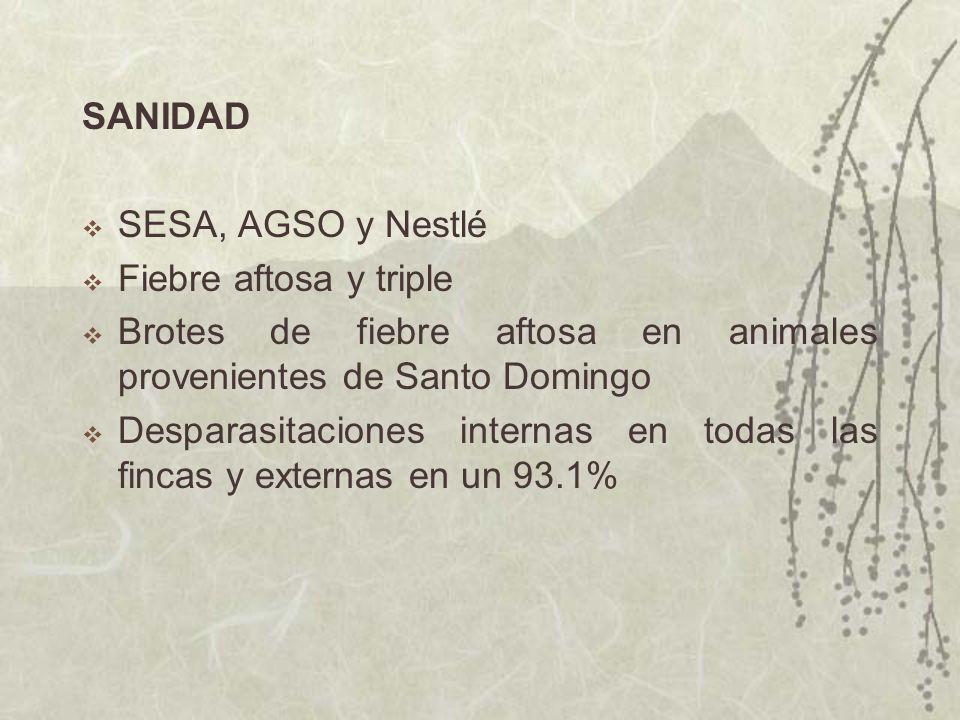SANIDAD SESA, AGSO y Nestlé Fiebre aftosa y triple Brotes de fiebre aftosa en animales provenientes de Santo Domingo Desparasitaciones internas en tod