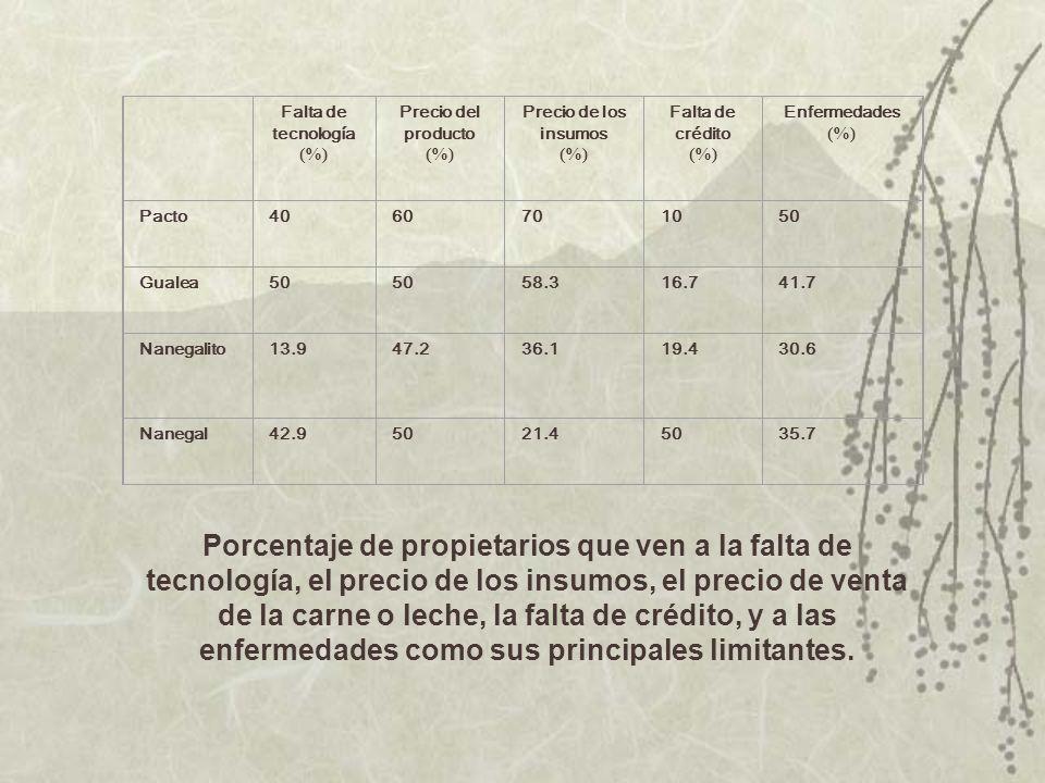 Falta de tecnología (%) Precio del producto (%) Precio de los insumos (%) Falta de crédito (%) Enfermedades (%) Pacto4060701050 Gualea50 58.316.741.7