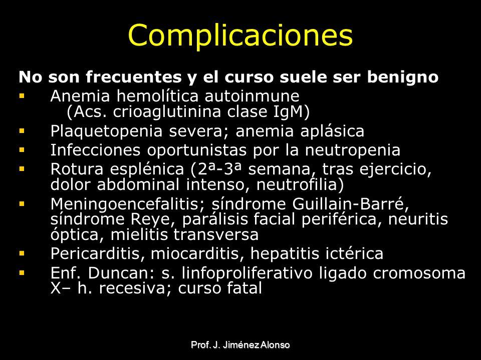 Prof. J. Jiménez Alonso Complicaciones No son frecuentes y el curso suele ser benigno Anemia hemolítica autoinmune (Acs. crioaglutinina clase IgM) Pla