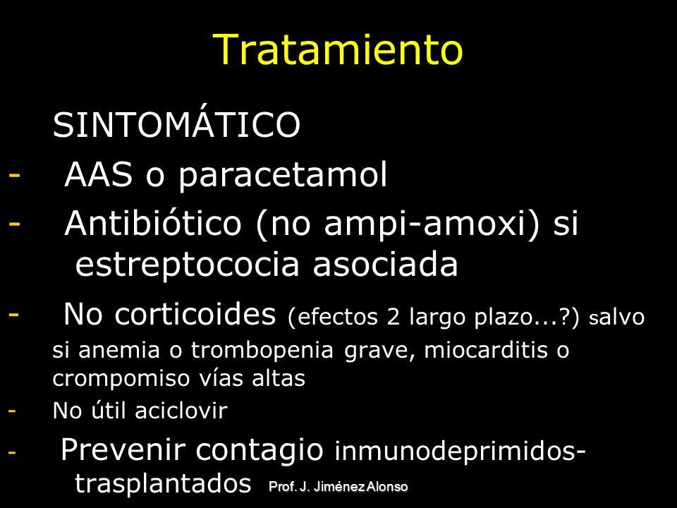 Prof. J. Jiménez Alonso Tratamiento SINTOMÁTICO - AAS o paracetamol - Antibiótico (no ampi-amoxi) si estreptococia asociada - No corticoides (efectos