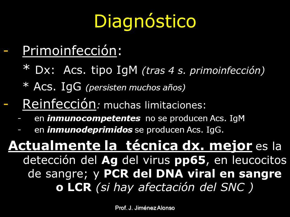 Prof. J. Jiménez Alonso Diagnóstico -Primoinfección: * Dx: Acs. tipo IgM (tras 4 s. primoinfección) * Acs. IgG (persisten muchos años) -Reinfección :