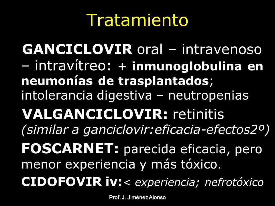 Prof. J. Jiménez Alonso Tratamiento GANCICLOVIR oral – intravenoso – intravítreo: + inmunoglobulina en neumonías de trasplantados; intolerancia digest
