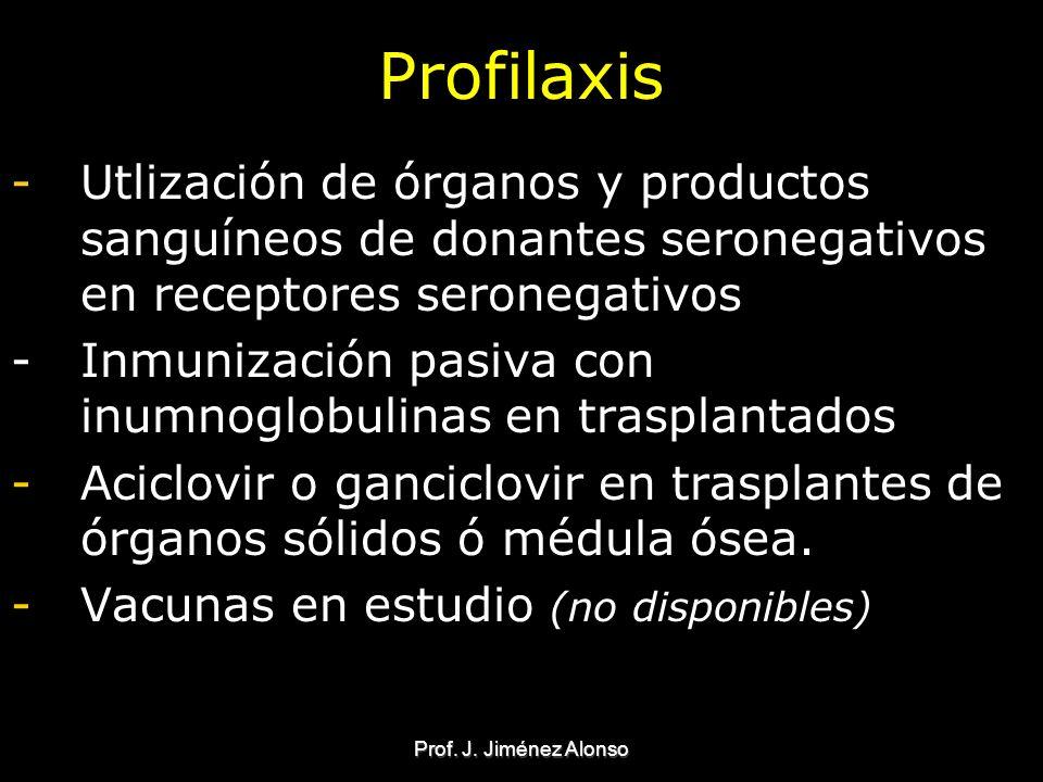 Prof. J. Jiménez Alonso Profilaxis -Utlización de órganos y productos sanguíneos de donantes seronegativos en receptores seronegativos - Inmunización