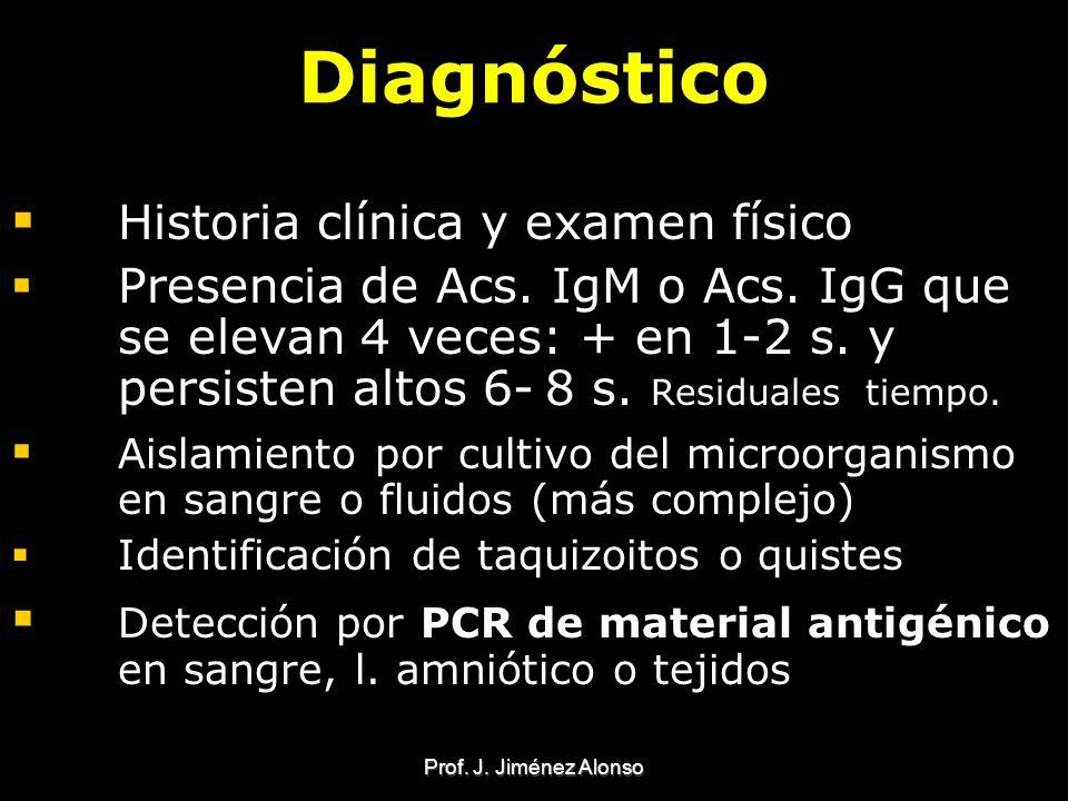 Prof. J. Jiménez Alonso Diagnóstico Historia clínica y examen físico Presencia de Acs. IgM o Acs. IgG que se elevan 4 veces: + en 1-2 s. y persisten a