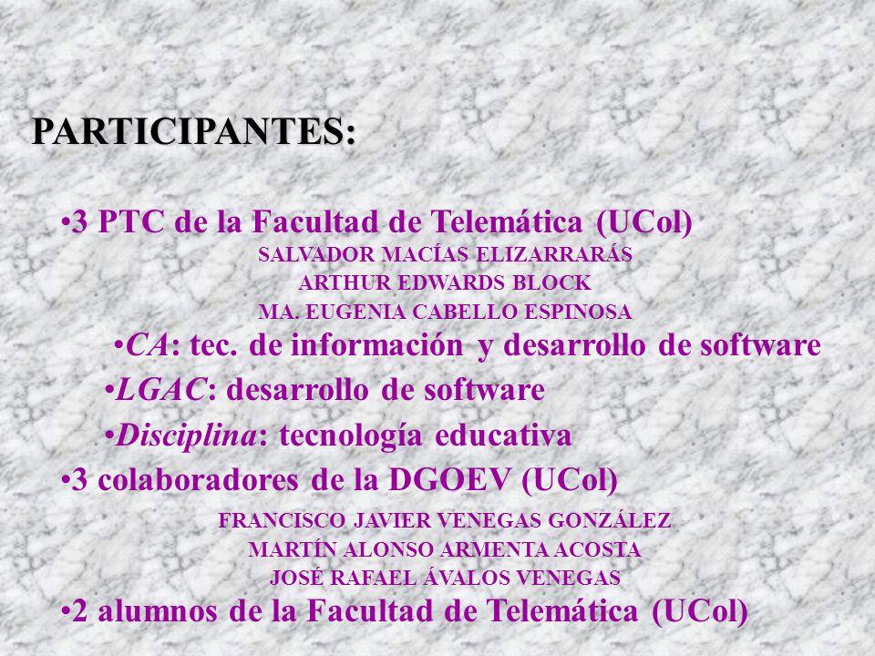 PARTICIPANTES: 3 PTC de la Facultad de Telemática (UCol) SALVADOR MACÍAS ELIZARRARÁS ARTHUR EDWARDS BLOCK MA. EUGENIA CABELLO ESPINOSA CA: tec. de inf