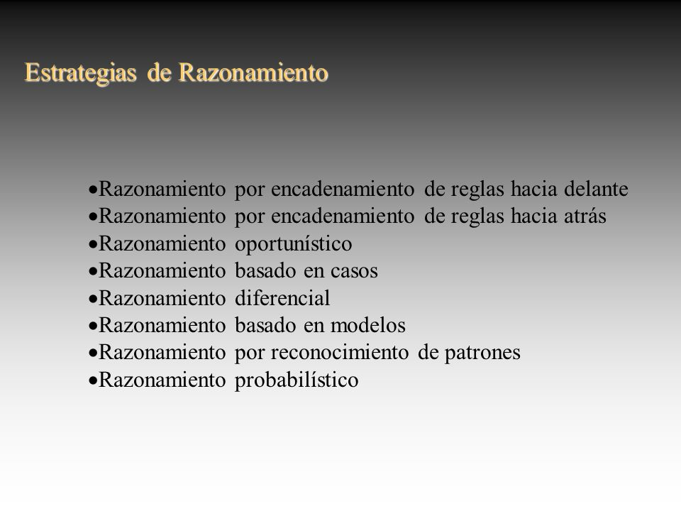 Estrategias de Razonamiento Razonamiento por encadenamiento de reglas hacia delante Razonamiento por encadenamiento de reglas hacia atrás Razonamiento