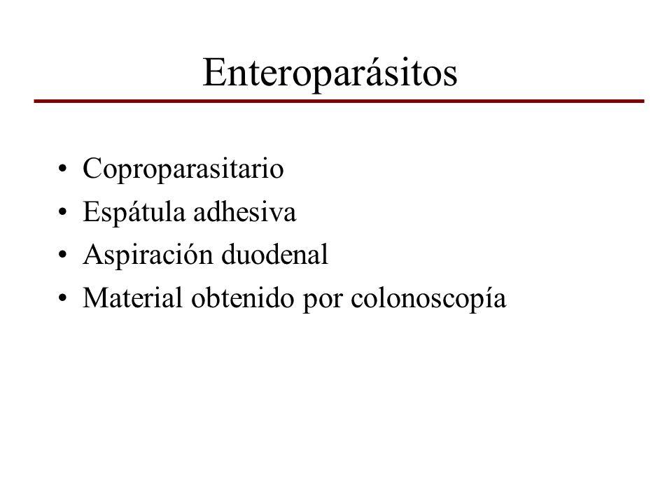 Enteroparásitos Coproparasitario Espátula adhesiva Aspiración duodenal Material obtenido por colonoscopía