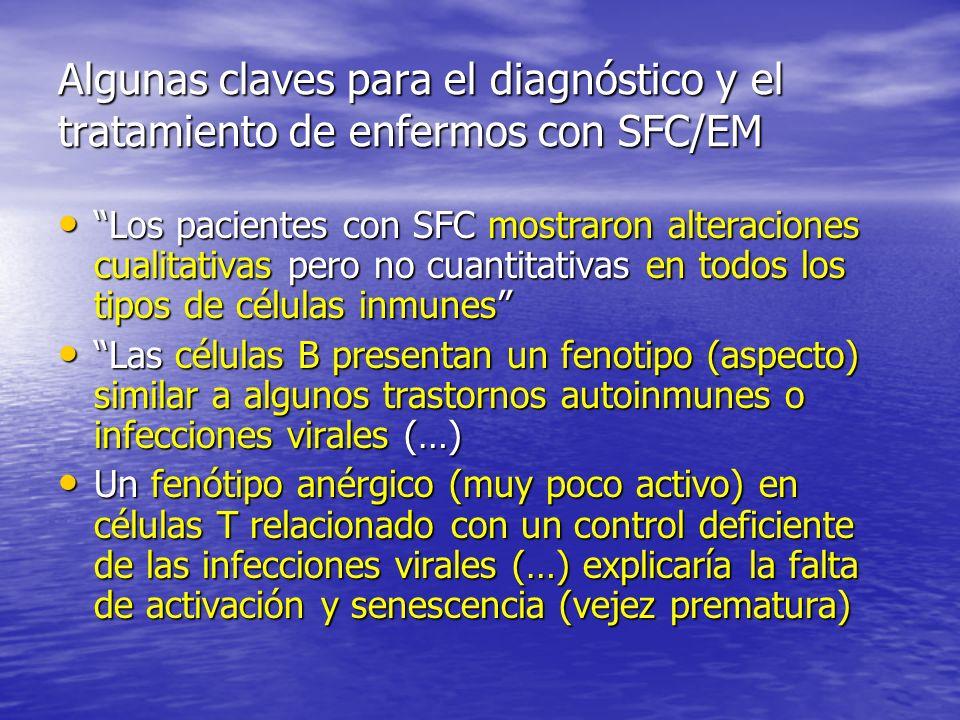 Algunas claves para el diagnóstico y el tratamiento de enfermos con SFC/EM Los pacientes con SFC mostraron alteraciones cualitativas pero no cuantitativas en todos los tipos de células inmunes Los pacientes con SFC mostraron alteraciones cualitativas pero no cuantitativas en todos los tipos de células inmunes Las células B presentan un fenotipo (aspecto) similar a algunos trastornos autoinmunes o infecciones virales (…) Las células B presentan un fenotipo (aspecto) similar a algunos trastornos autoinmunes o infecciones virales (…) Un fenótipo anérgico (muy poco activo) en células T relacionado con un control deficiente de las infecciones virales (…) explicaría la falta de activación y senescencia (vejez prematura) Un fenótipo anérgico (muy poco activo) en células T relacionado con un control deficiente de las infecciones virales (…) explicaría la falta de activación y senescencia (vejez prematura)