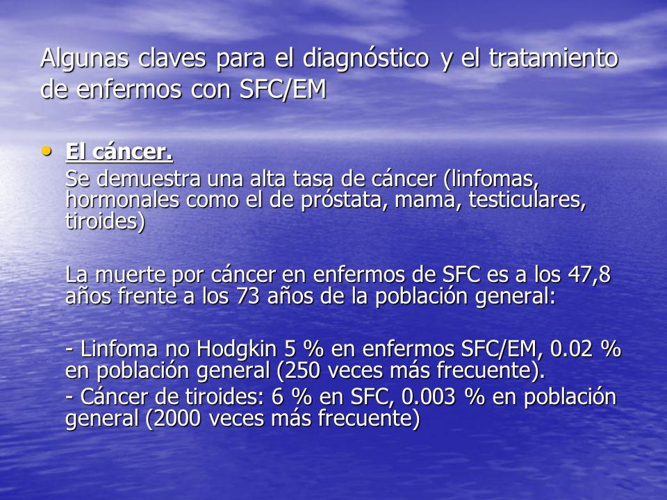 Algunas claves para el diagnóstico y el tratamiento de enfermos con SFC/EM Los enfermos de SFC/EM deberían ser controlados en relación a posibles tumores malignos como consecuencia de un sistema inmune comprometido.