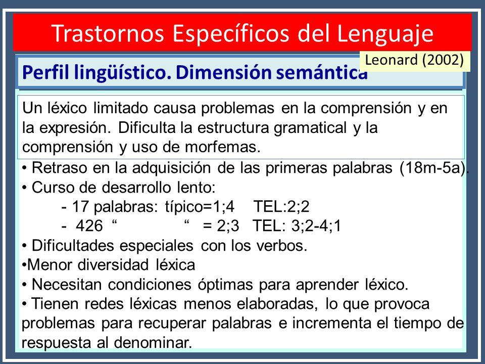 Perfil lingüístico. Dimensión semántica Disfasias o TEL Leonard (2002) Un léxico limitado causa problemas en la comprensión y en la expresión. Dificul