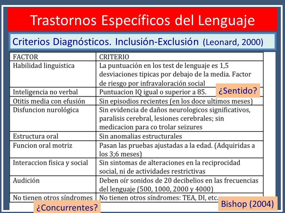 Criterios Diagnósticos. Inclusión-Exclusión (Leonard, 2000) Diagnóstico TEL Trastornos Específicos del Lenguaje ¿Concurrentes? ¿Sentido? Bishop (2004)