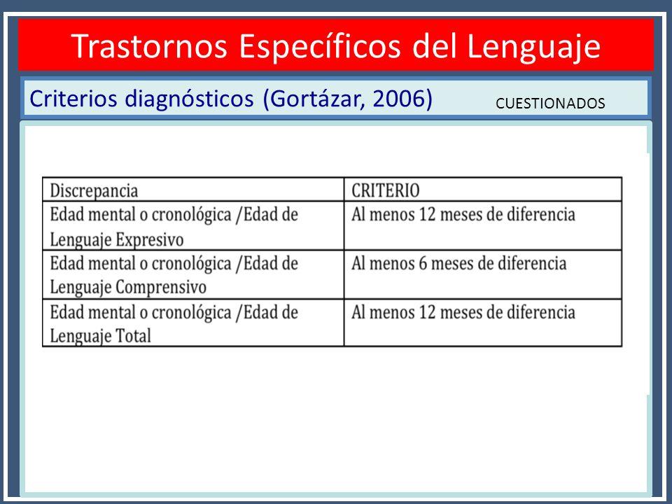 Criterios diagnósticos (Gortázar, 2006) Diagnóstico TEL Trastornos Específicos del Lenguaje CUESTIONADOS