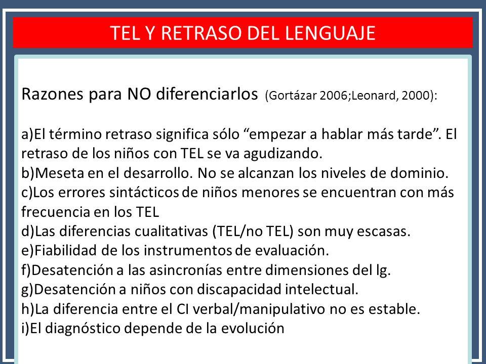 TEL Y RETRASO DEL LENGUAJE Razones para NO diferenciarlos (Gortázar 2006;Leonard, 2000): a)El término retraso significa sólo empezar a hablar más tard