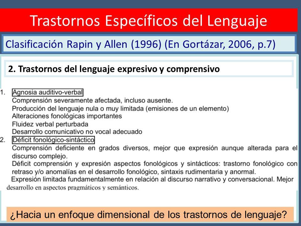 Clasificación Rapin y Allen (1996) (En Gortázar, 2006, p.7) Diagnóstico TEL Trastornos Específicos del Lenguaje 2. Trastornos del lenguaje expresivo y